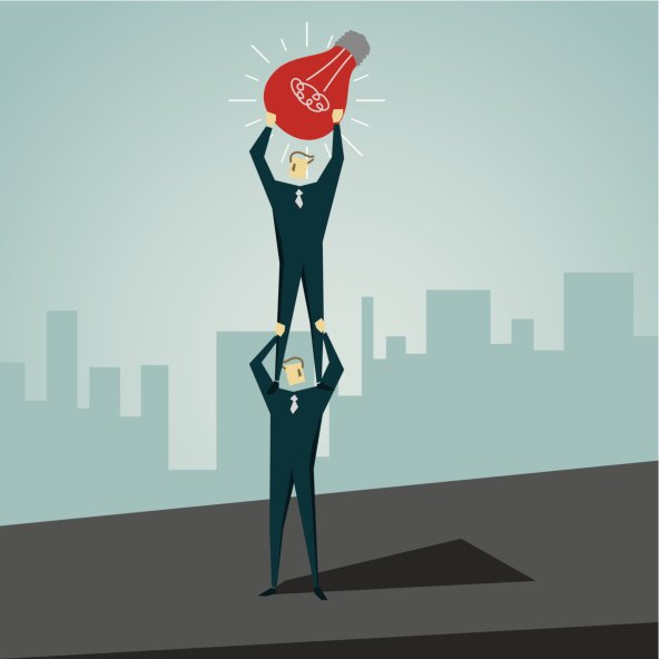 an illustration of a person standing on the shoulders of another person who is holding up a red light bulb