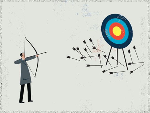 illustration of man with bow and arrow missing target