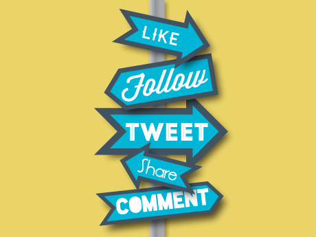 graphic of a sign post with social media phrases
