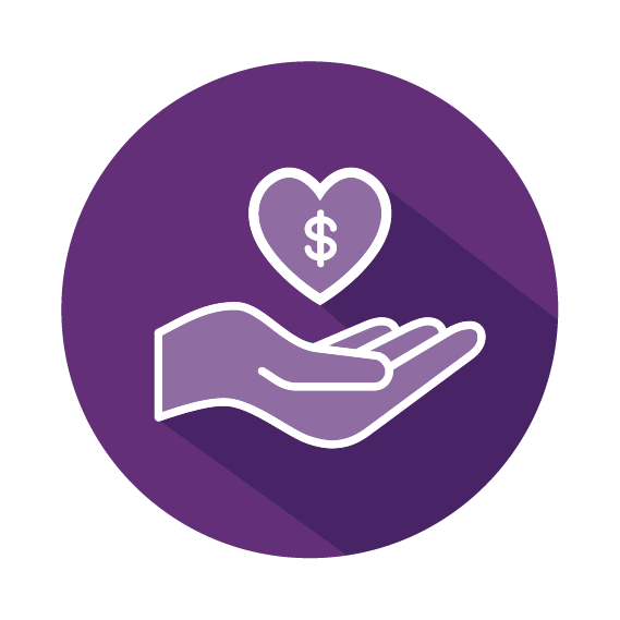 graphic of hand and heart with dollar sign in heart