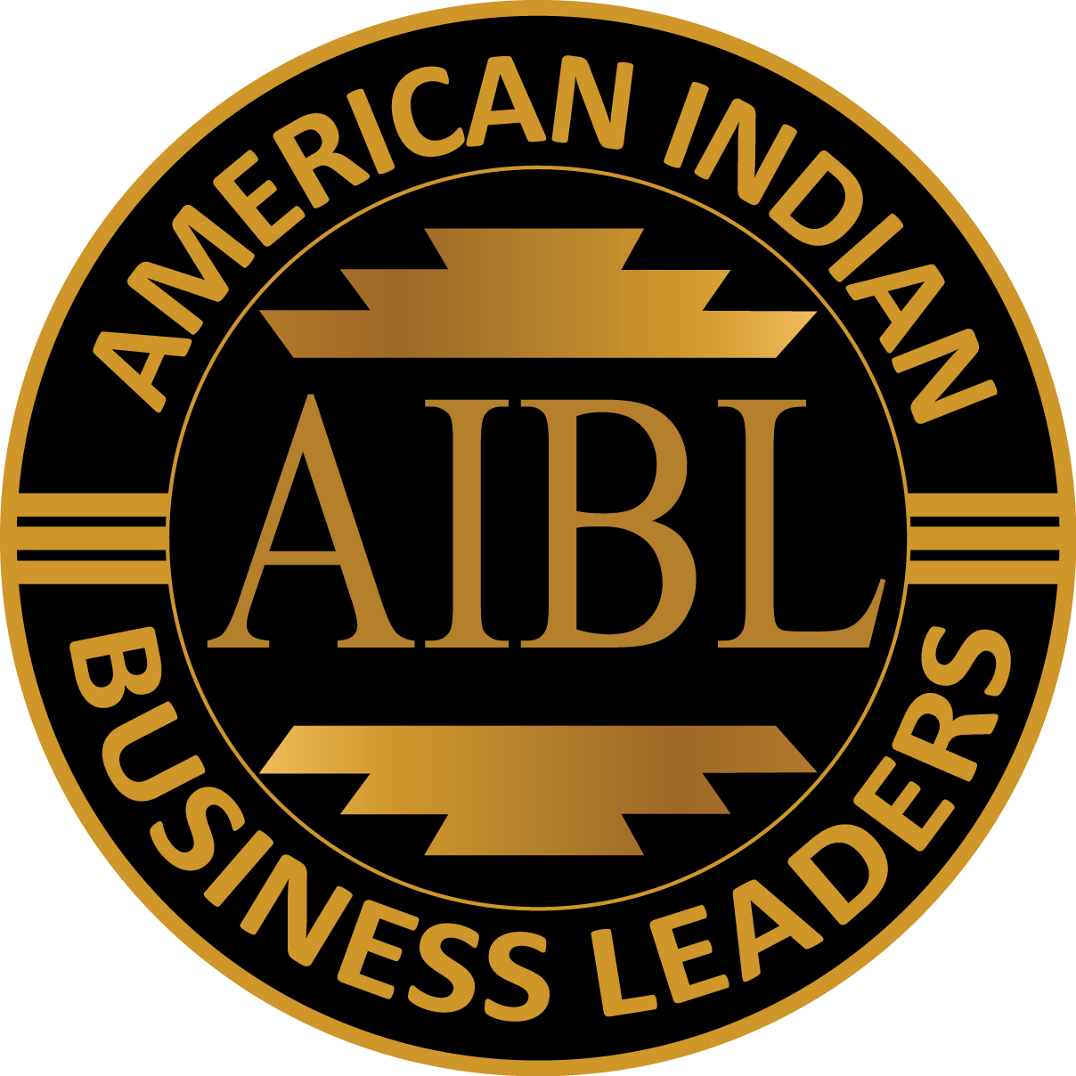 American Indian Business Leaders black and gold logo