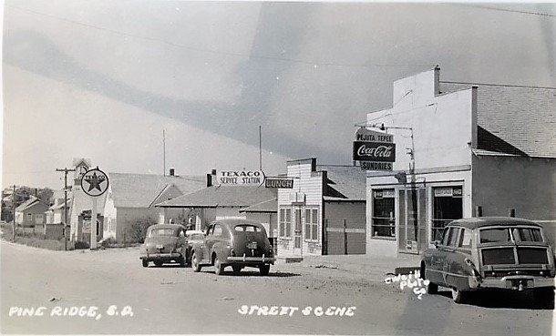 This postcard shot of Pine Ridge village was taken during the 1950s.