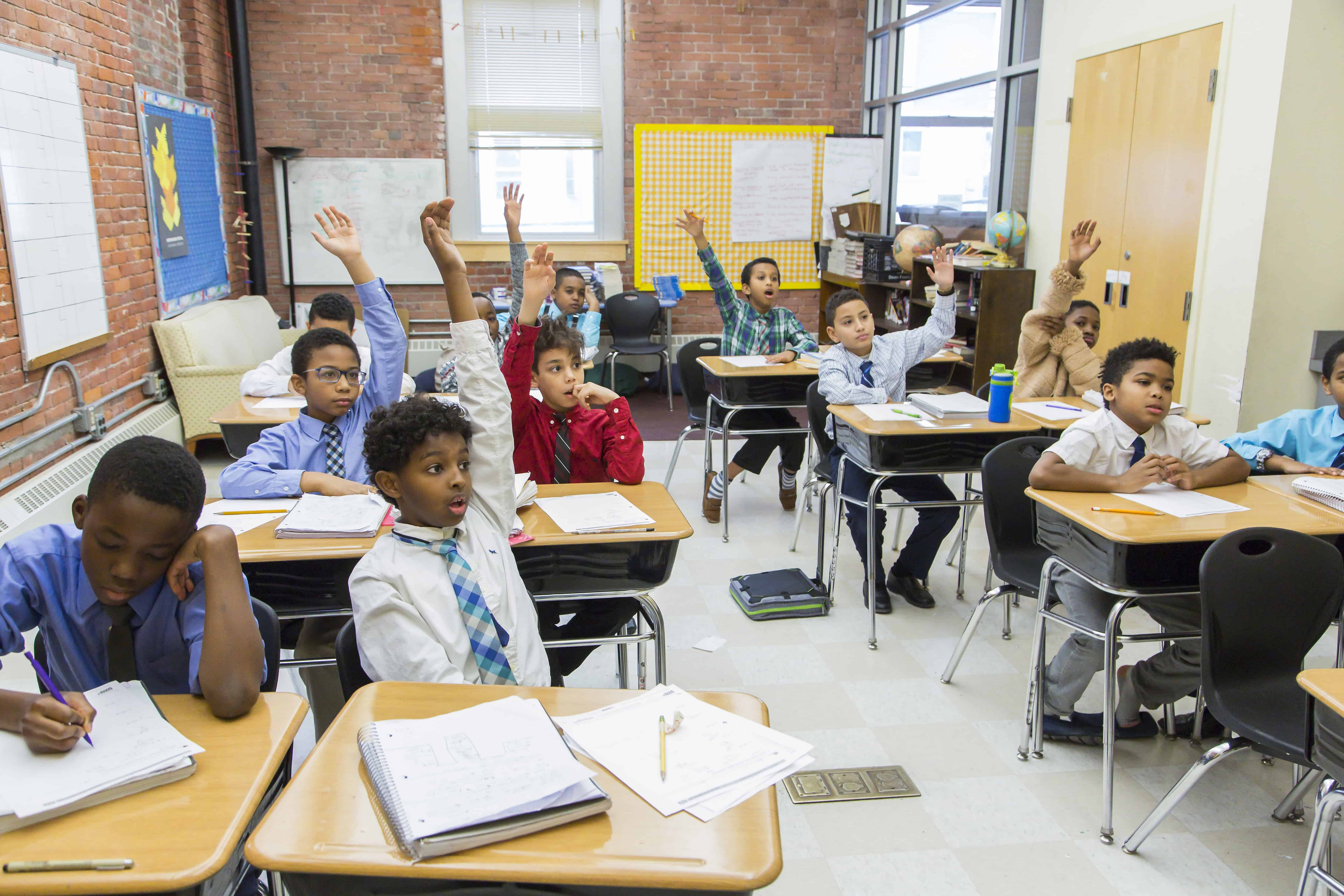 Young students raising their hands in class