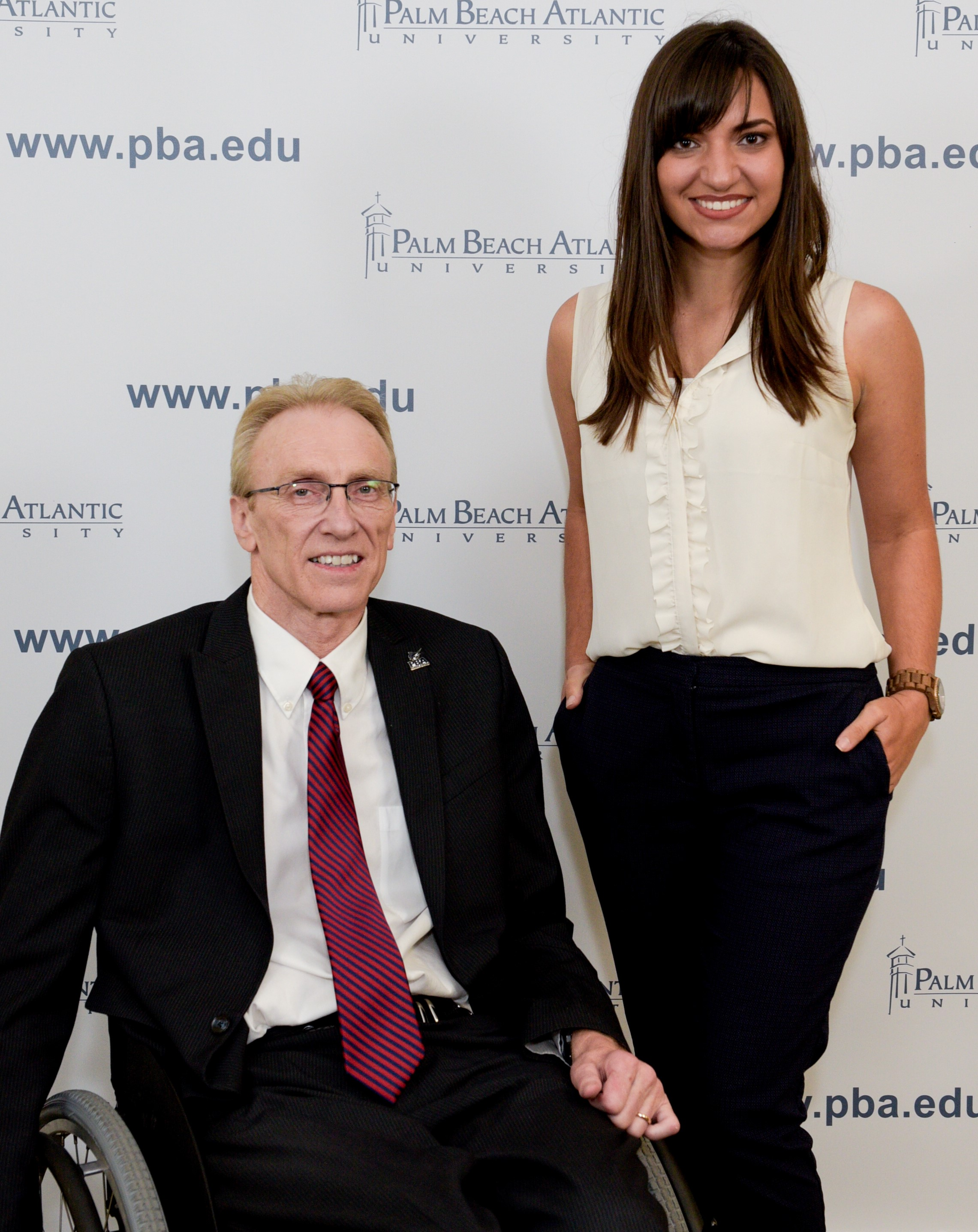 PBA Rinker School of Business Dean Dr. Leslie Turner (left) and senior Eva Bracciale